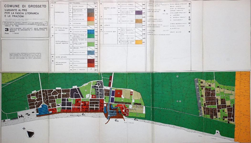 Variante al P.R.G., approvata dal Comune di Grosseto nel 1974 e dalla Giunta regionale nel 1976 (Fonte: Ufficio urbanistica del Comune di Grosseto)